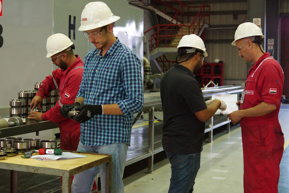 The Borets Egypt Service Center team reviewing work details.