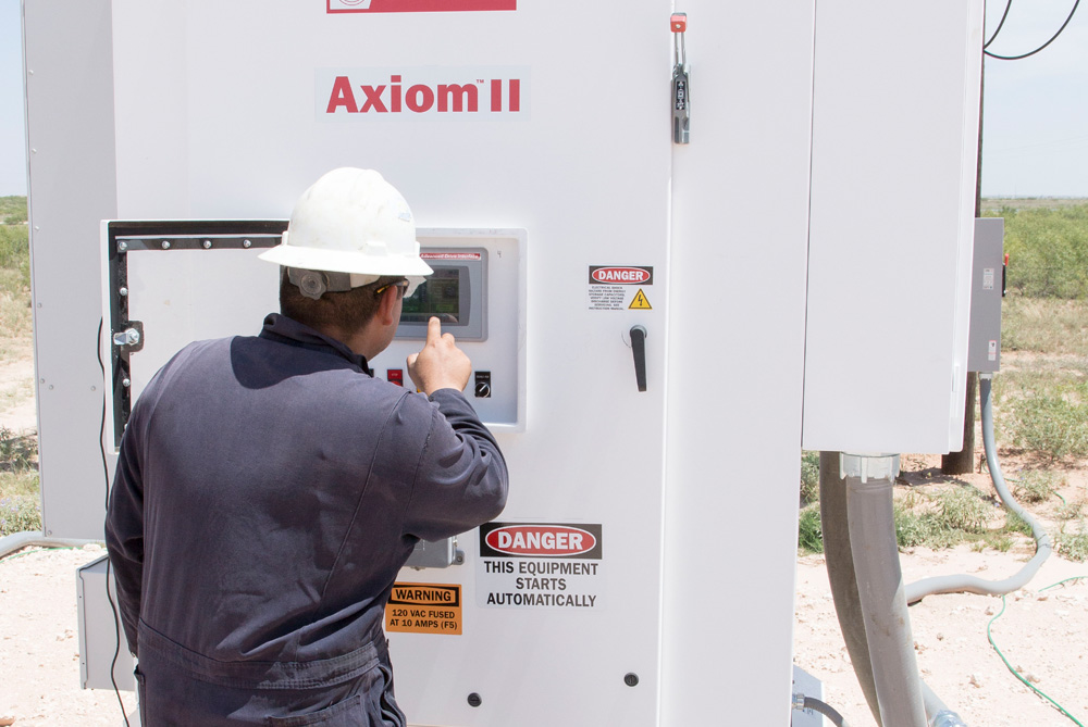 Setting up the Axiom II VSD on a newly installed PMM-ESP system in Texas.