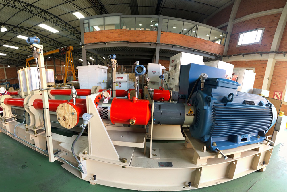 A horizontal pump system unit being prepared for load out at our Bogota, Colombia service facility.