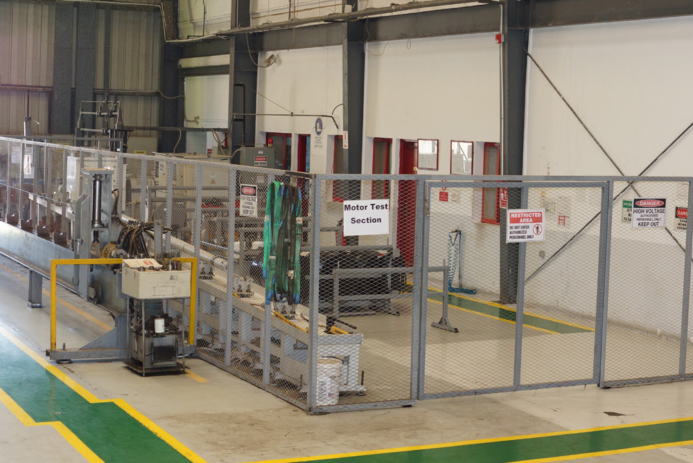 The secure motor test area in our Colombia facility.